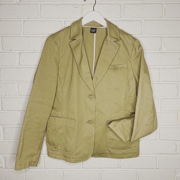 🔟 Vintage Gap Pocket Khaki Blazer Jacket Coat XL